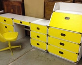 Yellow Mid-Century Campaign Style Bedroom Set or Office