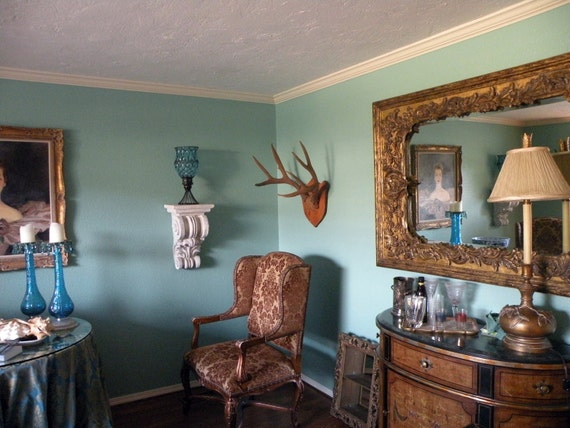 European Mount Deer Trophy Antlers Rustic French Farmhouse
