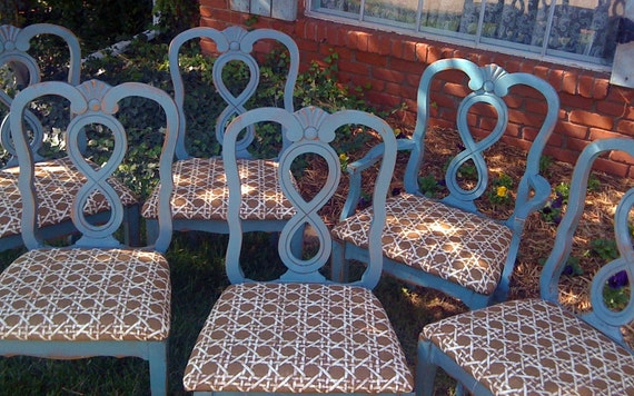 SALE French Country Dining Chairs Painted Teal Brown White Distressed