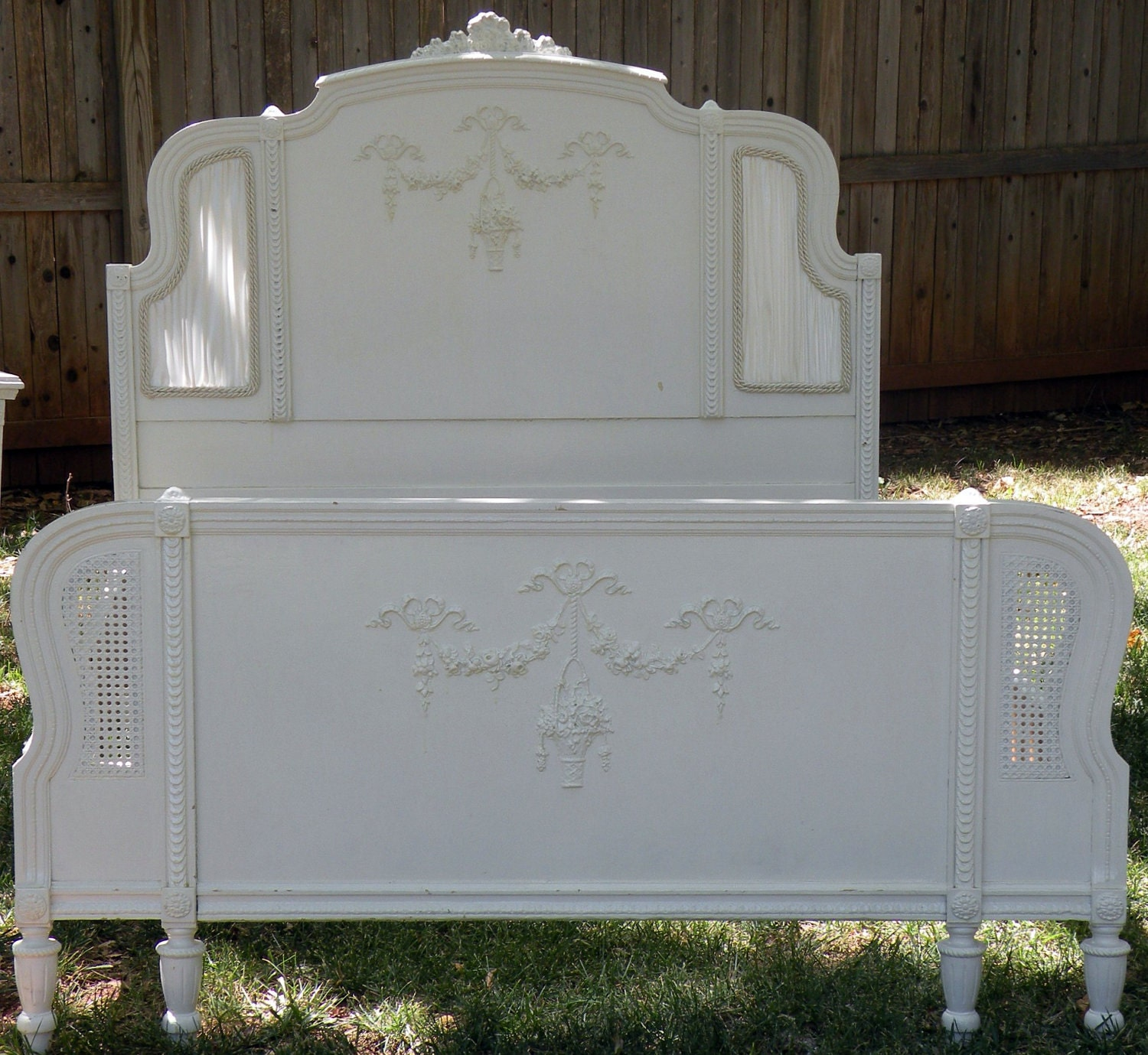 Shabby Cane Bed White 1920 S Headboard Footboard Rails
