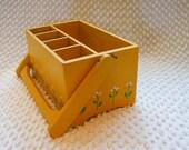 Vintage Wood Box Storage for Supplies Silverware Paintbrushes Desk Organizer