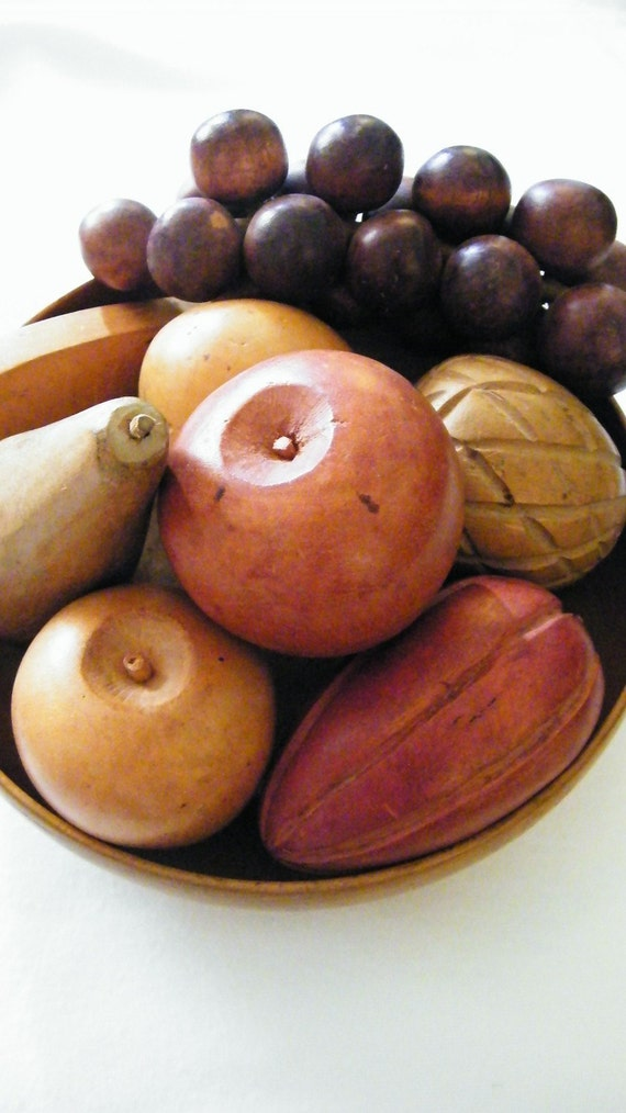 Hand carved wooden fruit by hmmosko on etsy