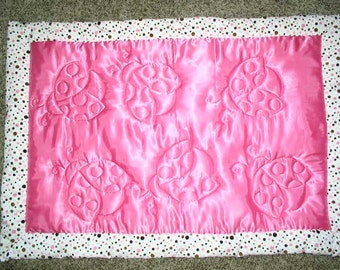 Minky and Satin baby blanket