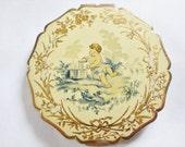 Vintage Stratton Compact Brass Mirror England Goldtone Scalloped Edge Powder