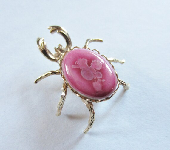 Vintage Pink Beetle Pin Bug Insect Glass Cab Goldtone Brooch - Spring Garden Beetle