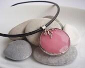 CLEARANCE / DESTASH Cotton candy colored Jade pillow pendant Necklace / choker