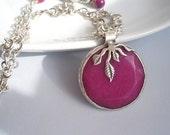 CLEARANCE / DESTASH Violet Purple Cascading leaves pendant - necklace