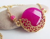 Luxurious, Exotic Hot Pink Jade Necklace - Romantic, Elegant - Available in Berry, Lime Green, Green, Black, Red, Hot Pink and White