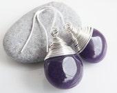 Juicy jade teardrop earrings - Aubergine / Eggplant purple