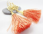 Dangly Swirly Marquise Arabesque Tassel Earrings - Peach / Coral Gold