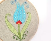 Embroidery Hoop Art - Turkish Tulip Wall Hanging - Wall Art - Turquoise - Pastel Green - Red -  OOAK
