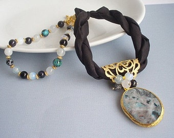 Black Silk Necklace with mixed assortment of natural stones