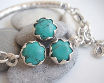 Turquoise Stone Bar Chain Bracelet - Christmas