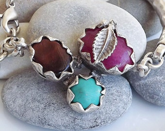 Silver Chain Bar Bracelet - Turquoise, Fuchsia pink Jade and Brown Agate Trio Stone - One Of A Kind - Christmas