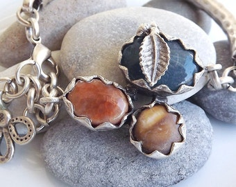 Silver Chain Bar Bracelet - Navy Jade and Orange and Brown Agate Trio Stone - One Of A Kind - Christmas