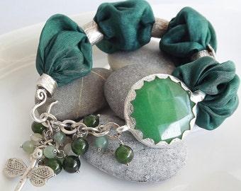 Green Turkish Silk Bracelet - Forest Green Jade  / Dragonfly charm