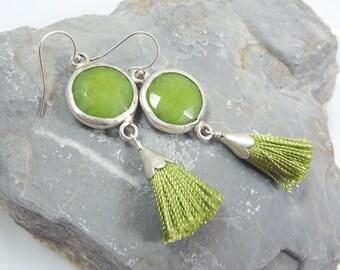 Apple Green Earrings - Jade Stone Dangly Bohemian with Mini Tassel - Sterling Silver Ear Wire - Spring Fashion
