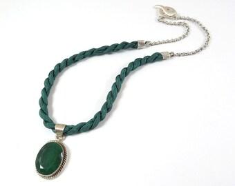 Forest Green Jade Pendant Rustic  Modern Luxurious Bohemian Chic Fiber Necklace