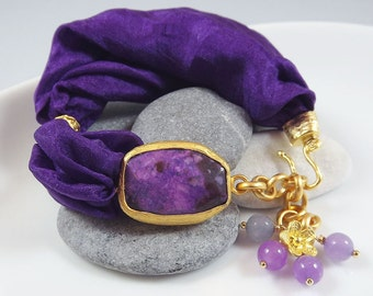 Purple Bohemian Turkish Silk Bracelet -  Purple Agate with Royal Purple Silk Puffy Cord