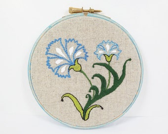 Embroidery Hoop Art - Vintage Style Turkish Carnation  Wall Hanging - Wall Art - Blue -  Turquoise - Distressed OOAK
