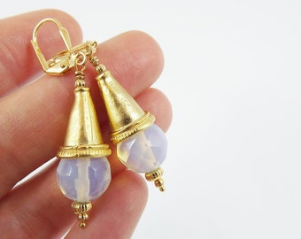 Bohemian Turkish Inspired Earrings with Faceted Moonstone Opal Gemstones -  Lever Back Ear Wires