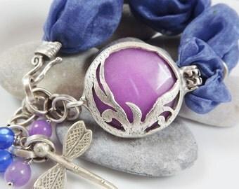 Exotic Organic Bohemian Turkish Silk Bracelet - Silver Plated, Lilac pink, Jean Blue Silk, Dragonfly Charm - Spring fashion