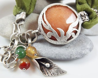 Exotic Organic Bohemian Turkish Silk Bracelet - Silver Plated, Apricot orange, Deep Lime Green Silk, Tulip Charm - Spring fashion