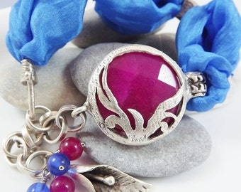 Exotic Organic Bohemian Turkish Silk Bracelet - Silver Plated, Deep Hot pink Jade, Blue Silk, Tulip Charm - Spring fashion