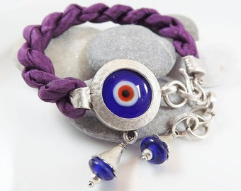 Lucky Protective Evil Eye Turkish Silk Bracelet - Silver Plated, Artisan Glass Bead, Eggplant Silk - Summer