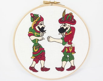 OOAK Embroidery Hoop Art - Turkish Karagoz and Hacivat Wall Hanging - Wall Art - Wine Red - Green - Yellow