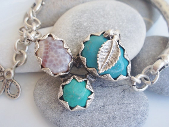 Turquoise, Agate Trio Stone Chain Bar Bracelet - Silver - One Of A Kind - Christmas