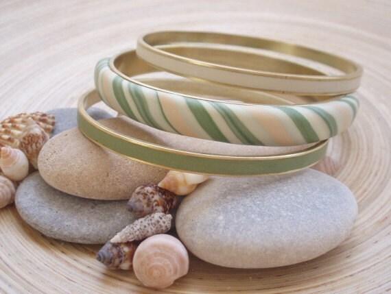 CLEARANCE - Greens bangle set - Polymer clay covered bangle set