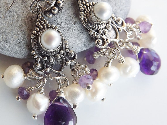 Chandelier Earrings - Purple Amethyst & Freshwater Pearl Bohemian - 100% Sterling silver