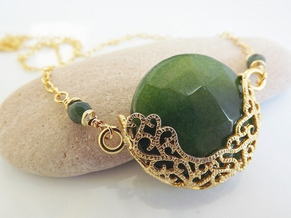 Luxurious, Exotic Green Jade Necklace - Romantic, Elegant. Available in Berry, Lime Green, Green, Black, Red, Hot Pink and White