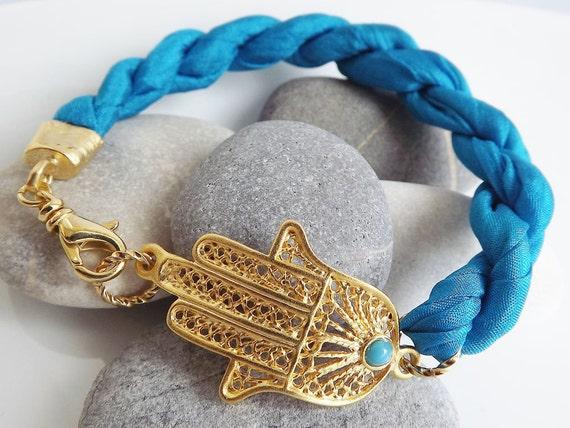Hamsa - Hand of Fatima Turquoise Silk Bracelet
