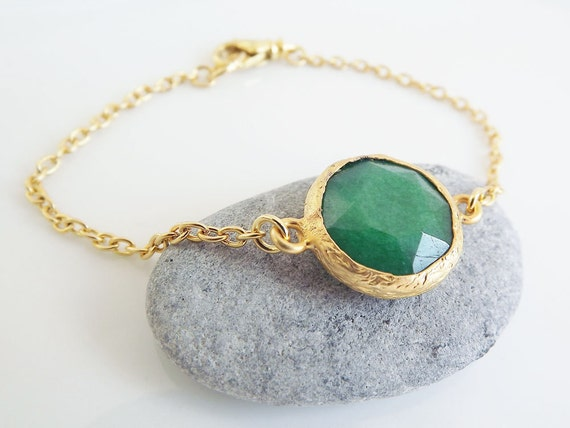 Classic Deep Green Jade Bracelet, 22k Gold Plated Chain, Lobster Clasp - Everyday Wear - More Colors Available