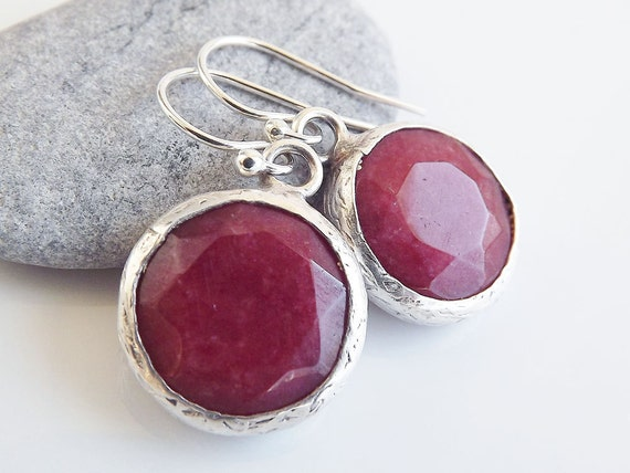 Cranberry Red Round Jade Drop Earrings With Sterling Silver Hooks - Spring, Classic - Christmas