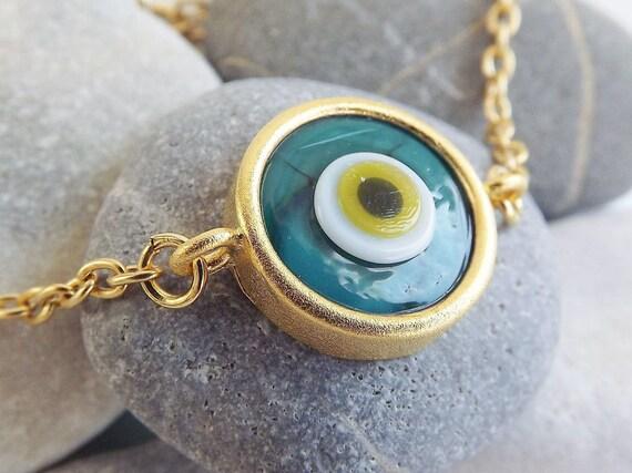 Green Evil Eye Gold Chain Bracelet - Lucky Protective - Artisan Handmade Glass Bead, Everyday Wear
