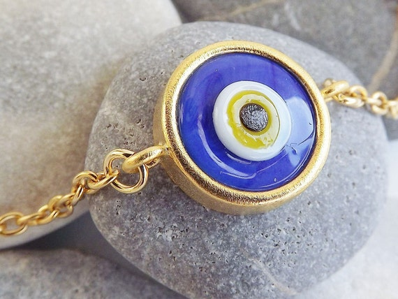 Blue Evil Eye Gold Chain Bracelet, Lucky Protective - Artisan Handmade Glass Bead, Everyday Wear
