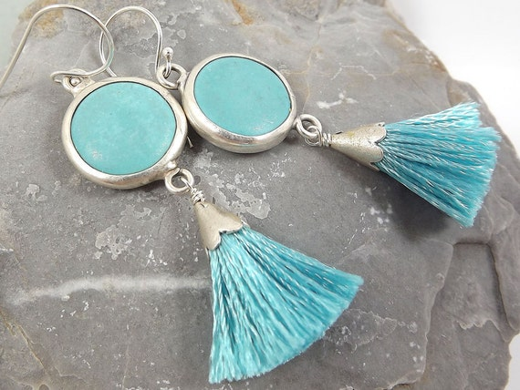 Dangly Turquoise Stone Earrings with Mini Tassel - Sterling Silver Ear Wire