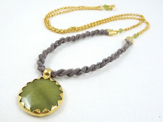 Simple Rustic Modern Bohemian Chic Long Fiber Necklace with Moroccan Style Olive Green Jade Pendant