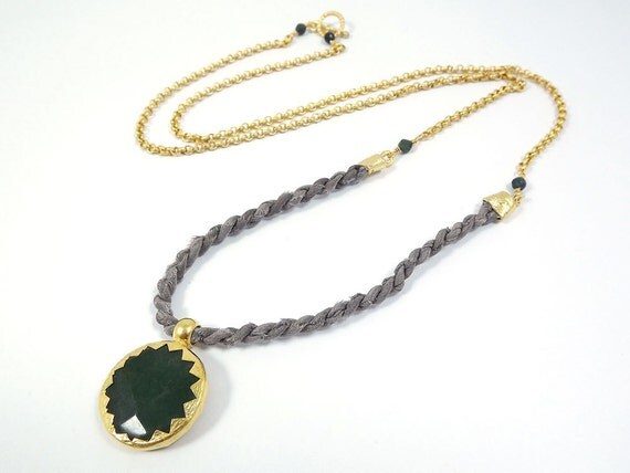 Simple Rustic Modern Bohemian Chic Long Fiber Necklace with Moroccan Style Dark Green Jade Pendant