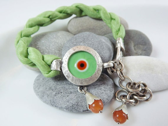 Lucky Protective Evil Eye Turkish Silk Bracelet - Silver Plated, Artisan Glass Bead, Pale Lime Green Silk - Spring colors