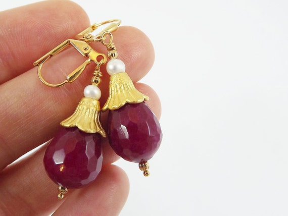 Bohemian Turkish Inspired Earrings with Ruby Red Faceted Jade Gemstones & Freshwater pearl -  Lever Back Ear Wires