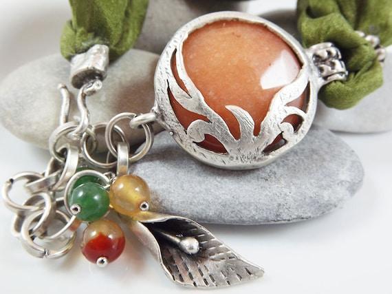 Exotic Organic Bohemian Turkish Silk Bracelet - Silver Plated, Apricot orange, Deep Lime Green Silk, Tulip Charm - Spring fashion