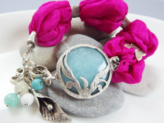 Exotic Organic Bohemian Turkish Silk Bracelet - Silver Plated, Light Turquoise Jade, Hot Pink Silk, Tulip Charm - Spring fashion