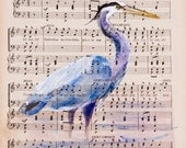 Blue Heron II - Original Watercolor Painting - on Antique Book page - 7x10inches - NEW