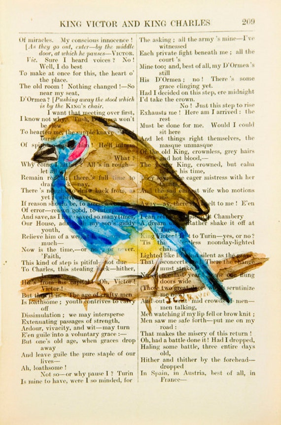 SALE 40% - Bird III  - Original Watercolor Painting - on Antique Book page - 7x5inches