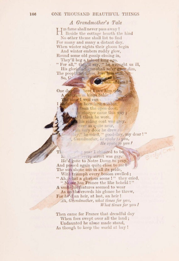 Chaffinch - Original Watercolor Painting - on Antique Book page - 6 x9 inches - NEW