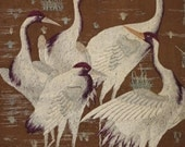 Reserved for Margaret - Japanese Hand Embroidered Panel of Cranes